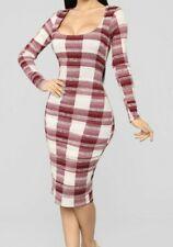 Tartan Plaid Midi Wiggle Dress S 8 Red Sexy Date Night Bodycon Fall Autumn
