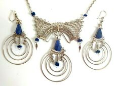 Set Silver and Steel New Ladies Lapis Lazuli Necklace & Earrings
