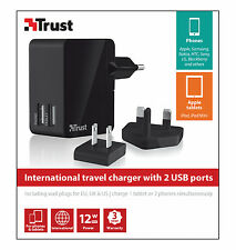 TRUST UNIVERSAL TRAVEL CHARGER WITH TWO USB OUTLETS, WALL PLUGS FOR EU, UK & US