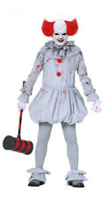Pennywise Costume Clown Scary IT Evil Killer Mens Halloween Horror Fancy Dress