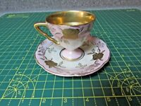 JAPAN IRIDESCENT & GOLD TRIM  PURPLE  FOOTED TEACUP & SAUCER HAND PAINTED ROSES