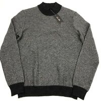 Men's Tasso Elba Cashmere Sweater Herringbone Mock Neck Charcoal Gray Small