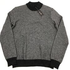Tasso Elba Men's Cashmere Sweater Herringbone Mock Neck Charcoal Gray XXL