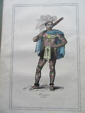 GRAVURE ORIGINALE COSTUME  1860  GUERRIER MEXIQUE