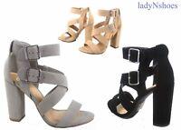 NEW Women's Open Toe Crisscross Buckles Chunky Heel Sandal Shoes Size 5.5 - 11