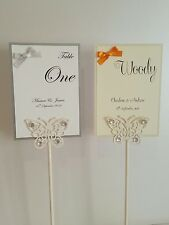 NEW Personalised Wedding table numbers / names BOW design white or ivory