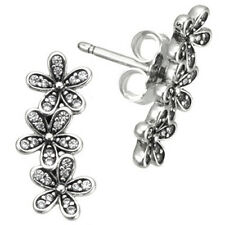 Daisy Clusters Stud Earrings 925 Solid Sterling Silver Pave Pins Dazzling Flower