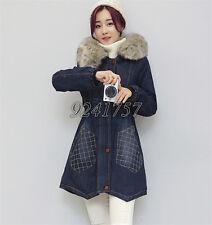 Damen Jacke Denim Jeansjacke mit Kapuze Cowboy lange Mantel Baumwolle Gr:S-3XL