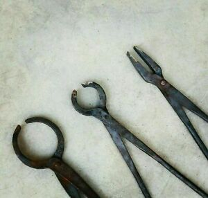Blacksmith Tongs Set Of 3 Forge Hammer Anvil And Vise Tools Knifemaking