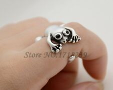 3D Wide Frog Animal Ring Adjustable Silver Finger Wrap Ring Size 4 to 5
