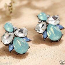 Handmade 1pair Woman's Green Crystal Rhinestone Long Ear Stud Hoop earrings 097