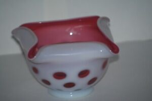 Fenton Fairy Lamp BASE ONLY for 3-Piece Fairy Lamp - Cranberry Coin Dot