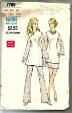 Vogue Sewing Pattern 7766, Vintage Top,Pants, Skirt, Size 12, Bust 34