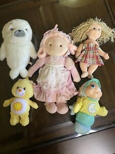 Vintage 80s90s Japanes Plush Animal LOT Care Bears , TY Beanie Baby , Glow Worm
