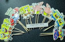 12 x Spongebob Squarepents Cake Toppers / Cupcake Picks Flags , Patrick,Mr Crabs