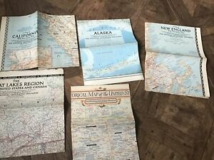 The National Geographic Magazine 5 USA Maps 1950s