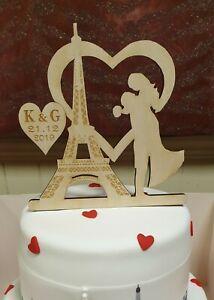 Personalised Cake Topper Eiffel Tower Paris Las Vegas  Engagement Wedding