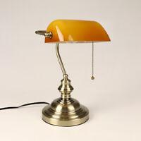 Classic Amber Banker Desk Lamp Pull Chain Switch Glass Table Light Satin Brass