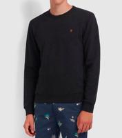 Farah The Tim Crew Sweatshirt Black Marl BNWT Size M