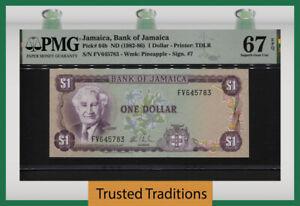 TT PK 64b ND (1982-86) JAMAICA BANK OF JAMAICA 1 DOLLARS PMG 67 EPQ SUPERB GEM