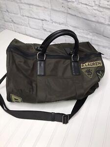 POLO Ralph Lauren Black Label Green Army Patch Duffel Bag