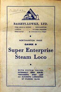 Bassett-Lowke Super Enterprise loco - facsimile operating instruction leaflet