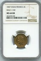 1847 Essai France 2 Centimes MAZ-1102 NGC MS64 RB Certified Coin - JC475