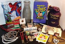 New listing Ant Vtg Junk Drawer Lot Coins Jewelry Lighter, Milk Btle Seagrams Bag Postcards