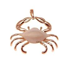 Hawaiian Blue Pincher Crab Pendant 33.8Mm Rose Gold Plated 925 Sterling Silver
