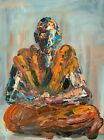 "Original Abstract Buddhist Monk Buddhism Figure Palette Knife Painting Art 24"""