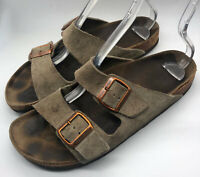 Birkenstock Arizona Sz 41 Sandals Slides Suede Tan Brown Mens 8 Womens 10
