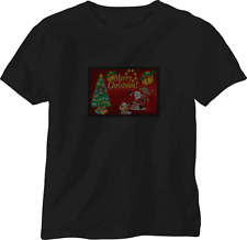 XXXL SOUND ACTIVATED MERRY XMAS FLASHING LIGHT LED T SHIRT + PANEL EL STAG PARTY