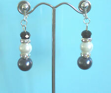 Dangly clip-on earrings: grey/glass pearl/black faceted - bridesmaid prom
