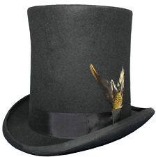 """100% Wool 8"""" Tall Satin Lined High Top Lincoln Victorian Hat With Feather"""