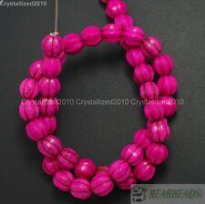 Howlite Turquoise Gemstone Pumpkin Round Shape Loose Beads 10mm 12mm 14mm 16''
