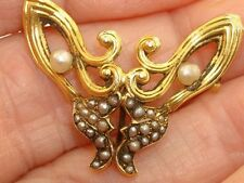ANTIQUE EDWARDIAN 14K GOLD SEED PEARL BUTERFLY WATCH PIN/BROOCH!