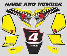 suzuki lt80 quad graphics stickers decals name & number lt 80 mx laminate yellow