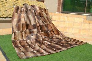 "Natural Muskrat Musquash Mink Real FUR Blanket Queen Throw 84""x74"" rug B3849"