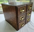 Antique Yawman & Erbe Quarter Sawn Oak 6 Drawer Card Catalog File Cabinet