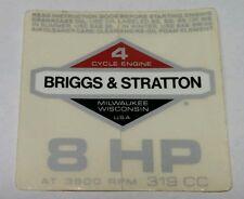 """Vintage Briggs & Stratton 8 HP - 319 CC Engine Decal / Sticker 3 3/8"""" by 3 1/4"""""""