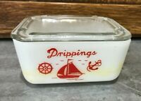 Vtg McKee Milk Glass Grease Drippings Container Bowl Red Sailboat Boat Nautical