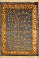 Rugstc 4x6  Pak Persian Blue Area Rug,Genuine Hand-Knotted,Floral with Wool Pile