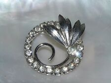 Vintage Clear Rhinestones Open Circle with Silvertone Leaves & Curlicue Stem in