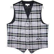 New Men's Plaid Tuxedo Vest Waistcoat only Plaid checkers Gray party Wedding