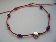 Red string anklet blue & heart & stars & crystal beads karmastring karma tie on