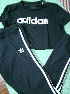 Adidas Junior's Size Small Cropped Tee & Active Wear Leggings Set Black/White