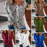 Womens Star Printed Long Sleeve Shirts Tunic Tops Ladies Casual Blouse Pullovers
