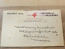 Postcard Soldier Mail American Red Cross Captain Hamlet Antique Vintage
