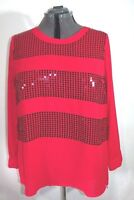Lane Bryant Shirt Blouse Top Women's Long sleeve Red Sequins High-Low sz 18/20
