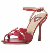 $1075 NIB VALENTINO LOVE HEARTS L'AMORE RED SANDALS SHOES HEELS NEW